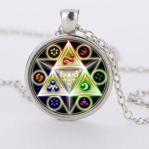 Jewelry - Neon Triforce Glass Cabochon Pendant Necklace